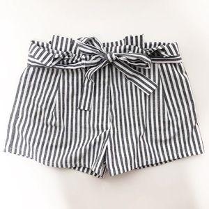 Love Tree | Gray & White Striped Paper Bag Shorts